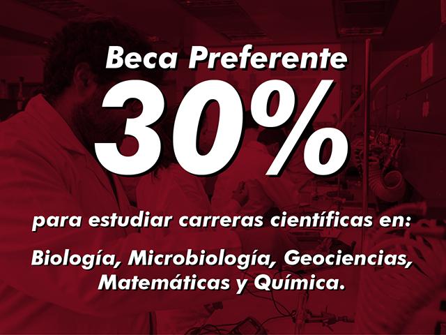 Beca de 30% para carreras en ciencias